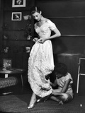 Eileen Ford Repairing a Gown So Model Barbara Mullen Can Wear it to a Party, New York, NY, 1948 Photographic Print by Nina Leen