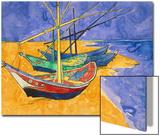 Fishing Boats on the Beach at Saintes-Maries-De-La-Mer Affiches par Vincent van Gogh