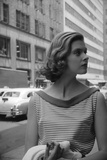 Woman Wearing Striped Shirt Modeling the Page Boy Hair Style on City Street, New York, NY, 1955 Photographic Print by Nina Leen