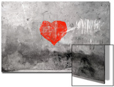 Red Heart Graffiti Over Grunge Cement Wall Poster by  Billyfoto
