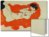 Reclining Female Nude on Red Drape, 1914 Prints by Egon Schiele