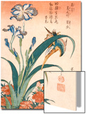 Kingfisher, Irises and Pinks (Colour Woodblock Print) Affiches par Katsushika Hokusai