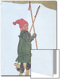 Little Girl Skiing Prints by Carl Larsson