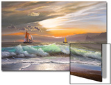 Oil Painting On Canvas , Sailboat Against A Background Of Sea Sunset Prints by  Lilun