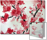 Cherry Blossom Watercolor On Paper Prints by Kathie Nichols