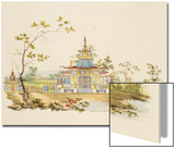Design for a Chinese Temple, C.1810 (Pen and Ink and W/C on Paper) Art by G. Landi