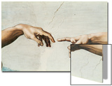 The Creation of Adam, Detail of God's and Adam's Hands, from the Sistine Ceiling Posters by  Michelangelo Buonarroti