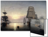 Sunset, Boston Harbor Poster by Fitz Hugh Lane
