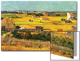 Harvest at La Crau with Montmajour in the Background Print by Vincent van Gogh