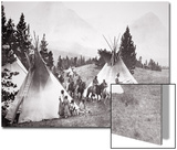 Native American Teepee Camp, Montana, C.1900 (B/W Photo) Láminas por  American Photographer