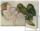 Nude with Green Stockings, 1918 Prints by Egon Schiele