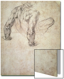 W.63R Study of a Male Nude, Leaning Back on His Hands Posters by  Michelangelo Buonarroti