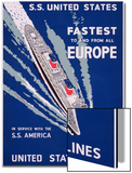 S.S. United States, Fastest to and from All Europe, United States Lines Advertisement, C.1955 Prints