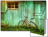 Digital Painting Of Old Bicycle Against Barn Prints by  Sandralise