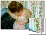 A Goodnight Hug Print by Mary Cassatt