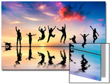 Happy Group Of Friends, Family With Dog And Cat Jumping Together At Sunset, Water Reflection Print by PHOTOCREO Michal Bednarek