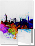 New York Watercolor Skyline 1 Print by  NaxArt