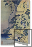 Travellers Climbing Up a Steep Hill to Pay Homage to a Kannon Shrine in a Cave by the Waterfall Print by Katsushika Hokusai
