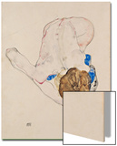 Nude with Blue Stockings, Bending Forward, 1912 Art by Egon Schiele