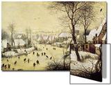 Winter Landscape with Skaters and a Bird Trap, 1565 Poster av Pieter Bruegel the Elder