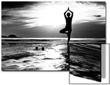 Black And White Picture: Young Woman Practicing Yoga On The Beach At Sunset Print by De Visu