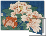 Three Stems of Peonies on a Blue Background, 1857 Prints by Ando Hiroshige