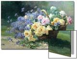 Basket of Flowers Prints by Albert Tibulle de Furcy Lavault