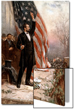 American Civil War Painting of President Abraham Lincoln Holding the American Flag Print