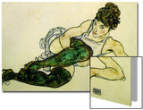 The Green Stockings, 1917 Prints by Egon Schiele