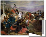 The Battle of Poitiers, 25th October 732, Won by Charles Martel (688-741) 1837 Print by Charles Auguste Steuben