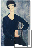 Young Woman with a Fringe or Young Seated Woman in Blue Dress, 1918 Print by Amedeo Modigliani