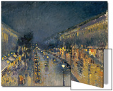 The Boulevard Montmartre at Night, 1897 Art by Camille Pissarro