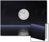 Full Moon on a Dark Night with Stars and Comets over the Ocean Prints
