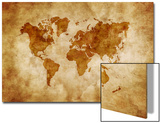 Aged World Map on Dirty Paper Print