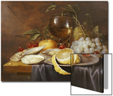 A Roemer, a Peeled Half Lemon on a Pewter Plate, Oysters, Cherries and an Orange on a Draped Table Posters by Joris Van Son