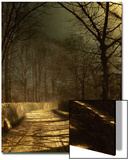 A Moonlit Lane, with Two Lovers by a Gate Prints by John Atkinson Grimshaw