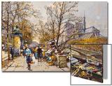 The Rive Gauche, Paris with Notre Dame beyond Prints by Eugene Galien-Laloue