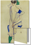 Standing Girl in Blue Dress and Green Stockings, 1913 Prints by Egon Schiele