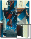 Violon et gravure accrochee (Violin and print), 1913 Print by Juan Gris