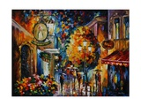 Cafe in the Old City Print by Leonid Afremov