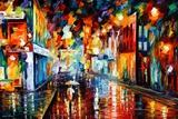 City Under Rain Print van Leonid Afremov