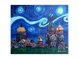 Starry Night in St Petersburg Russia Photographic Print by Martina Bleichner