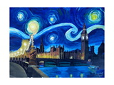 Starry Night London Parliament Van Gogh Inspired Photographic Print by Martina Bleichner