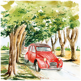 2CV Rouge Art by Bruno Pozzo