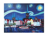 Starry Night in Luebeck Germany with Van Gogh Insp Photographic Print by Martina Bleichner