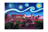 Starry Night in Nuremberg Germany with Castle and Prints by Martina Bleichner