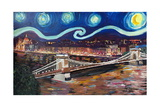 Starry Night in Budapest Hungary with Danube Posters by Martina Bleichner