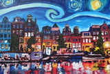 Starry Night over Amsterdam Canal with Van Gogh Photographic Print by Martina Bleichner