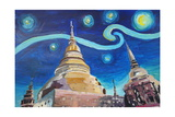 Starry Night in Thailand Van Gogh Inspirations i Photographic Print by Martina Bleichner