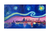 Starry Night in Chicago Illinois with Lake Michiga Prints by Martina Bleichner